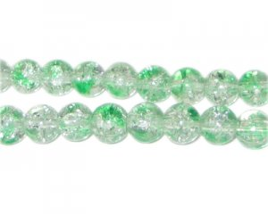 8mm Greenbrier Crackle Spray Glass Bead, approx. 53 beads