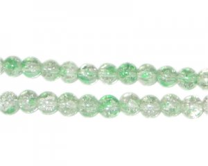 6mm Greenbrier Crackle Spray Glass Bead, approx. 72 beads