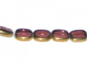 14 x 12mm Plum Vintage-Style Glass Bead, approx. 6 beads