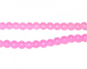 6mm Light Pink Jade-Style Glass Beads, approx. 75 beads