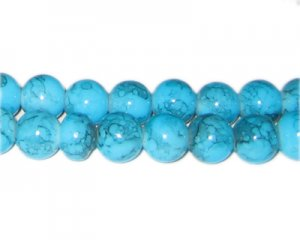 10mm Turquoise-Style Glass Bead, approx. 21 beads