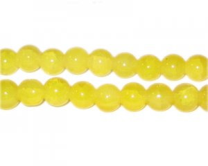 8mm Yellow Agate-Style Glass Bead, approx. 35 beads