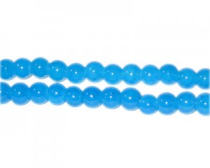6mm Blue Agate-Style Glass Bead, approx. 48 beads