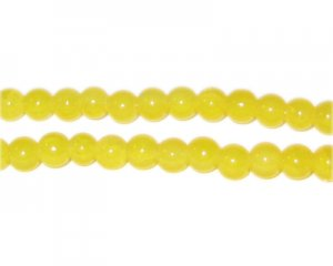 6mm Yellow Agate-Style Glass Bead, approx. 48 beads