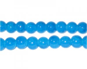 8mm Blue Agate-Style Glass Bead, approx. 35 beads