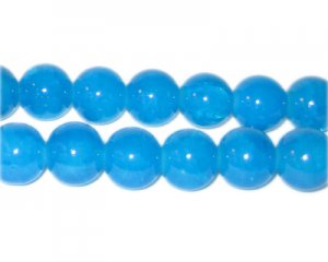 10mm Blue Agate-Style Glass Bead, approx. 21 beads
