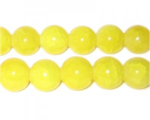 12mm Yellow Agate-Style Glass Bead, approx. 14 beads