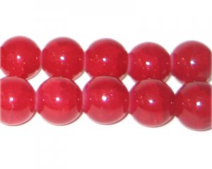 12mm Red Agate-Style Glass Bead, approx. 14 beads