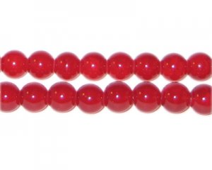 8mm Red Agate-Style Glass Bead, approx. 35 beads