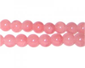 8mm Pink Aventurine-Style Glass Bead, approx. 53 beads