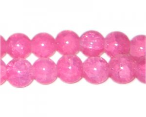 10mm Pink Jade-Style Glass Bead, approx. 21 beads