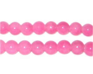 8mm Pink Jade-Style Glass Bead, approx. 53 beads