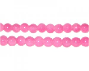 6mm Pink Jade-Style Glass Bead, approx. 75 beads