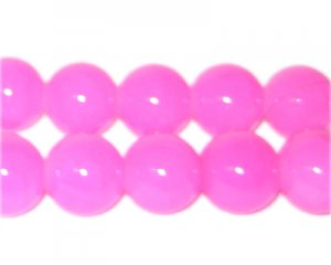 12mm Deep Pink Jade-Style Glass Bead, approx. 18 beads