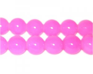 10mm Deep Pink Jade-Style Glass Bead, approx. 21 beads