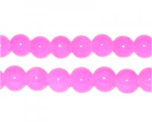 8mm Deep Pink Jade-Style Glass Bead, approx. 53 beads