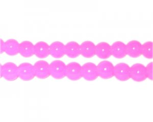 6mm Deep Pink Jade-Style Glass Bead, approx. 75 beads