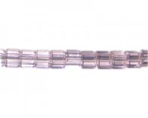 "8mm Pink Faceted Cube Glass Bead, 14"" string"