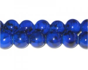 12mm Lapis-Style Glass Bead, approx. 18 beads