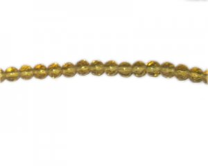 "6mm Pale Gold Faceted Round Glass Bead, 24"" string"