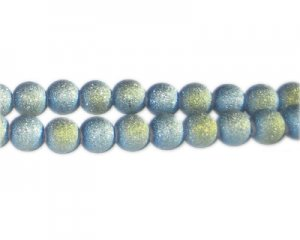 8mm Blue Druzy-Style Electroplated Glass Bead, approx. 36 beads