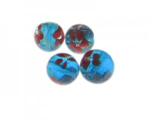 16mm Turquoise Floral Lampwork Glass Bead, 4 beads