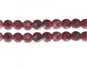 10mm Red Swirl Marble-Style Glass Bead, approx. 16 beads