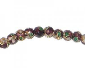 6mm Maroon Round Cloisonne Bead, 10 beads