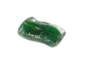36 x 26mm Green Wavy Rectangle Handmade Lampwork Glass Bead