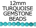 "12mm Round Turquoise Bead, 16"" string"