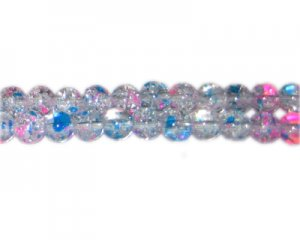8mm Cotton Candy Crackle Season Glass Bead, approx. 54 beads