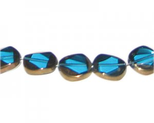14mm Turquoise Vintage-Style Flat Round Glass Bead, approx. 5 be