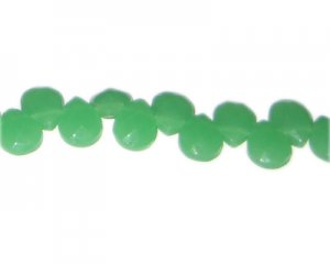 "8x12mm Green Faceted Drop Semi-Opaque Glass Bead, 13"" string"