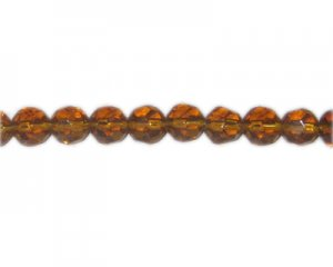 "10mm Deep Gold Faceted Round Glass Bead, 13"" string"