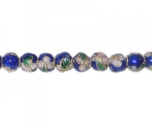 6mm Blue Round Cloisonne Bead, 7 beads