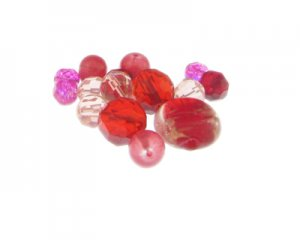 Approx. 1.5 - 2oz. Red and Pink Glass Bead Mix