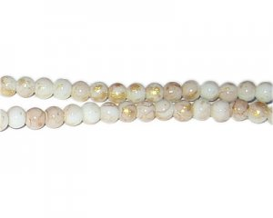6mm Champagne GoldLeaf-Style Glass Bead, approx. 72 beads