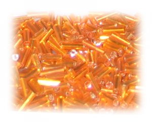 7 x 2mm Orange Silver-Lined Bugle Bead, 1 oz. bag
