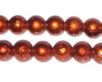 10mm Drizzled Bronze Glass Bead, approx. 22 beads
