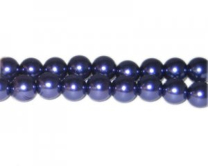 10mm Crisp Purple Glass Pearl Bead, approx. 22 beads