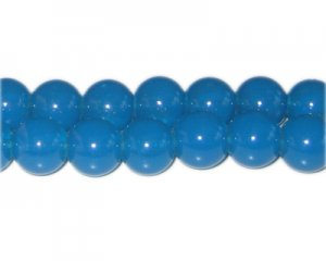 12mm Cadet Blue Jade-Style Glass Bead, approx. 18 beads
