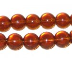 "10mm Brown Transparent Pressed Glass Bead 8"" string"
