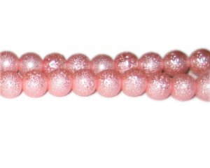 10mm Pink Rustic Glass Pearl Bead, approx. 23 beads