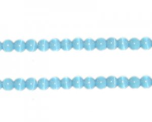 4mm Pastel Blue Round Cat's Eye, approx. 50 beads