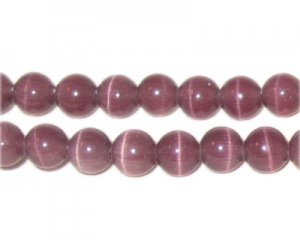 "8mm Mauve Round Cat's Eye Bead - 5"" String, approx. 15 beads"