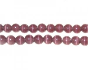 "6mm Mauve Round Cat's Eye Bead - 5"" String"