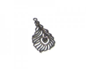 38 x 18mm Silver Feather Metal Pendant, 2 pendants/charms