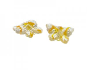 30 x 26mm Yellow Stripe Butterfly Pressed Glass Bead, 2 beads