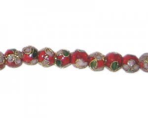 6mm Red Round Cloisonne Bead, 7 beads