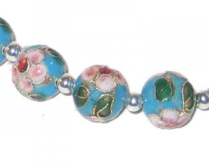 12mm Turquoise Round Cloisonne Bead, 4 beads